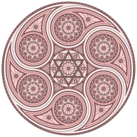 Mystical mandala with six-pointed star. Vector design in dusty rose colors.