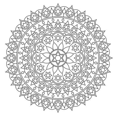 Coloring page with round mandala with six-pointed star. Vector drawing. Illustration