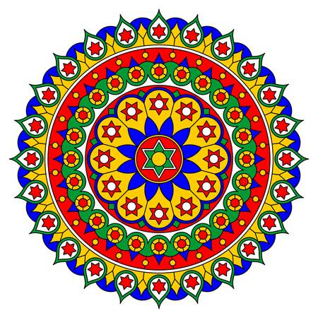Bright motley mandala with floral and geometric ornaments. Vector drawing. Illustration