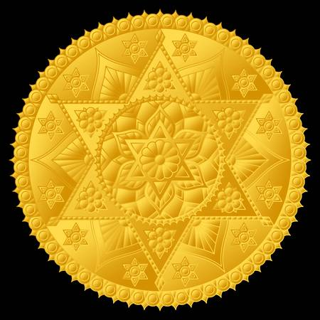 Luxurious gold medallion with relief mandala. Round vector design.