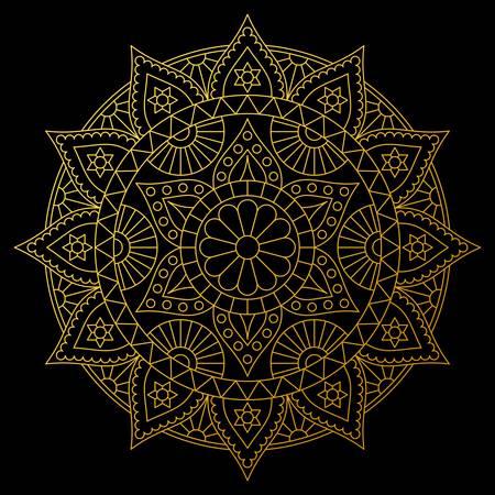 Round gold mandala on black background. Stylish vector design with six-pointed stars. Illustration