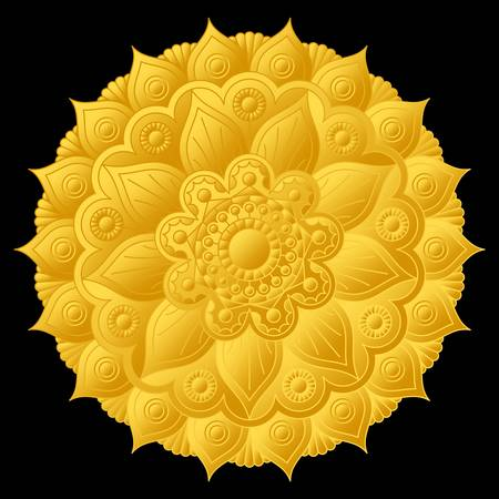 Beautiful golden relief mandala with floral ornament. Vector design.
