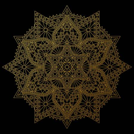 Golden mandala with six-pointed stars on black background. Stylish vector design.
