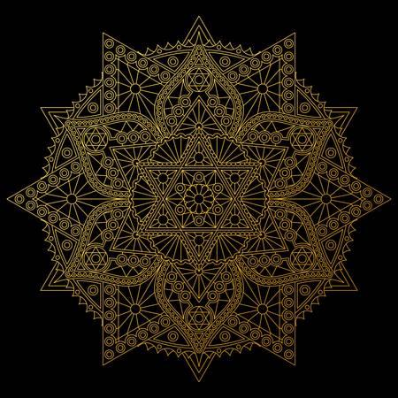 Golden mandala with six-pointed stars on black background. Stylish vector design.