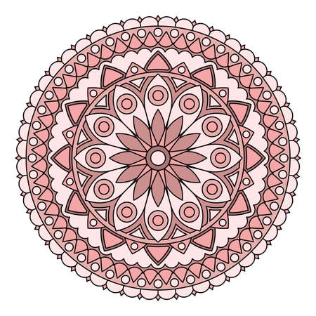 Round abstract dusty rose mandala with floral pattern. Vector image. Ilustração
