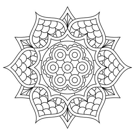Template for card or invitation with golden gradient floral mandala and place for text. Vector image.