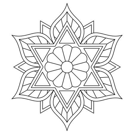 Coloring book with black and white mandala. Vector drawing with six-pointed star.