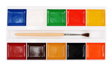 Watercolor paint with brush isolated on white Stock Photo