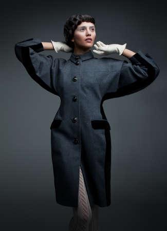 vestment: Fashion design shows supermodel pretty brunette Stock Photo