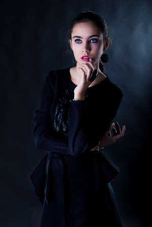 eloquent: Portrait of nice bright teen gigl - studio shot Stock Photo