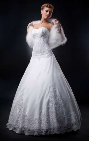 angelical: Spectacular pretty bride blonde in nuptial white dress