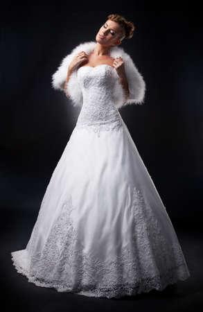angelical: Attractive bride supermodel on podium displays wedding style  Stock Photo