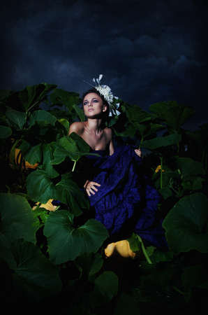 beautiful cinderella: Cinderella sitting in pile heap of ripe pumpkins - night scenery