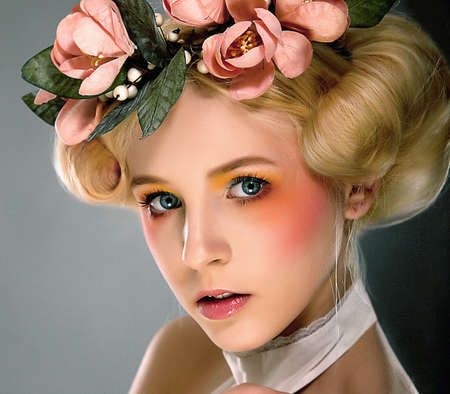 Belle - bright young blonde girl closeup portrait photo