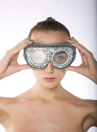 Attractive female - young woman in protective swim goggles - series of photos Stock Photo - 11927935