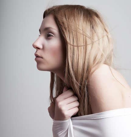 arousal: Worried sleepy half-dressed  pale  girl in white clothes