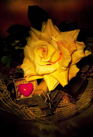 suspense: Old still life - flowers and symbol of red heart. Pattern