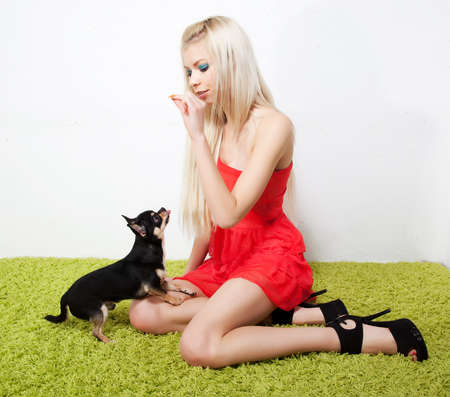 Lovely sexy girl blonde with her friend - little black puppy photo