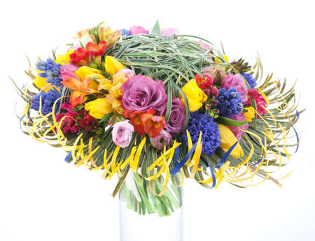 aspidistra: Floristics - colorful bridal bouquet of flowers isolated over white background. Wedding style Stock Photo