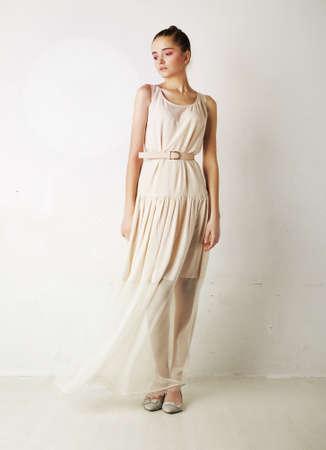 Fashion style - portrait of a beautiful gentle young woman Studio shot