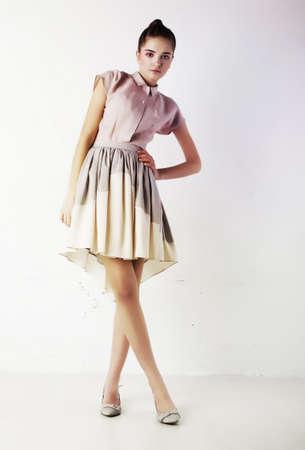 Beautiful woman with elegant white dress  Fashion style photo