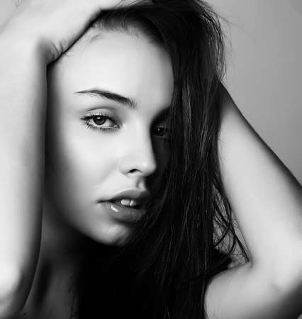 Black and white portrait of beauty sensual girl with the clean healthy skin Stock Photo - 12815734