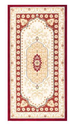 wool rugs: Carpet frame art design - border pattern background on white Stock Photo