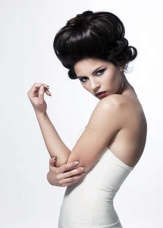 pin up vintage: Pin-up bellezza femminile, bella ragazza isolato su uno sfondo bianco - serie di foto