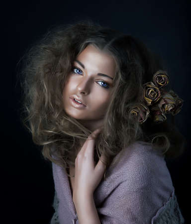 Beauty  Sexy young sensual woman with beautiful long curly hair  photo