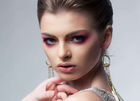 Sexiness  Portrait of beautiful young female - beauty model close up Stock Photo