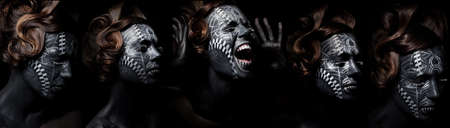 moods: Collage of expressive female painted with black color  Face painting creative project