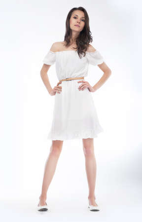 Beautiful woman with elegant white dress  Fashion photo