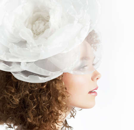 Happy beautiful curly red hair bride on white background close up Stock Photo - 14051344