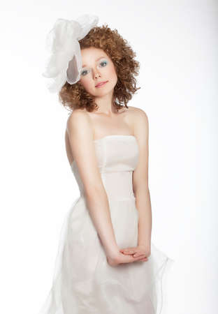 Bride beautiful portrait  Wedding white dress and bow  Sensuality and beauty Stock Photo - 14293886