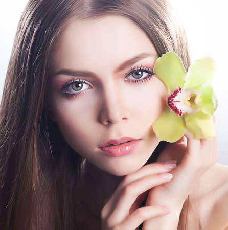 Fresh clear healthy skin on of beautiful woman face close up portrait Stock Photo - 14293909