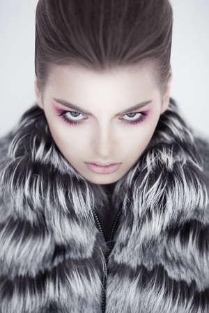 fashion shoot: Fashion female russian model with fur collar - beauty shoot