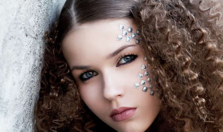 Beautiful young girl face  Perfect skin concept  Art make-up  Natural beauty Stock Photo - 14402212