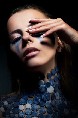 glamours: Fashion young beautiful woman with bright blue beads  Glamour style