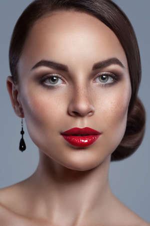 Portrait of beautiful woman with red sexy lips isolated  photo