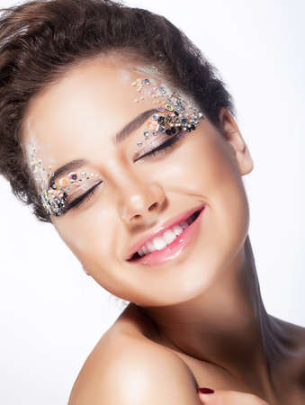 Elated young woman smiling with closed eyes - pleasure and bliss  Sensuality and charming Stock Photo - 15121424