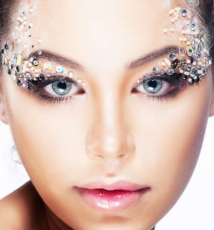Fashion woman model with beauty bright make-up  Beautiful female face with clean skin Stock Photo - 15094663