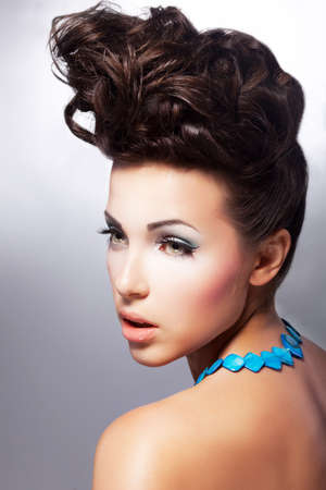 Glamour beautiful woman model with amazing makeup and romantic hairstyle  Fashion style Stock Photo - 15488769
