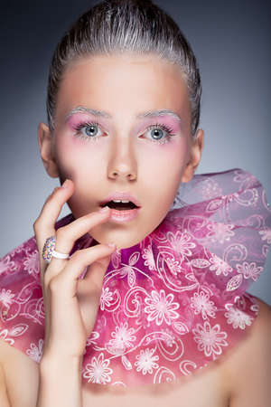 Fashion beauty portrait  Sexy girl touching her face - holiday pink makeup Stock Photo - 15488776