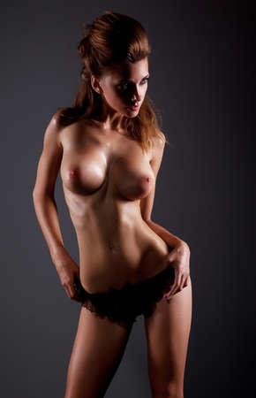 hot breast: Sensual woman body in underwear - sexy girl posing topless