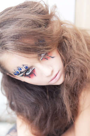 stagy: Artistic woman clown - creative art dramatic makeup. Body painting project Stock Photo