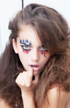 Brignt female makeup - young fashion lady clown Stock Photo - 15331958