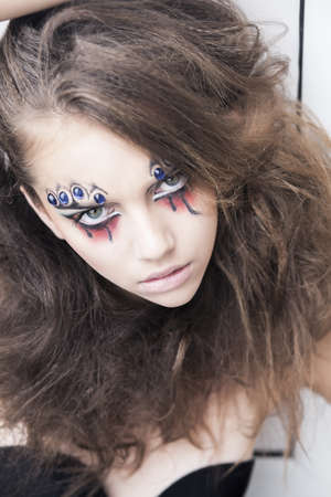 fantasy makeup: Conceptual design - girl with creative face-art - carnival fantasy Stock Photo