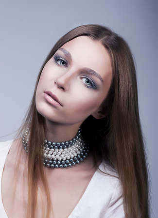 Beauty lovely young woman pretty face - classic make up photo
