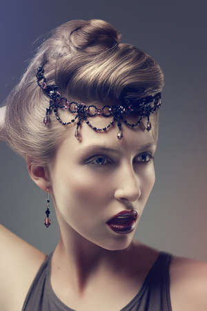 Bright fashion beauty woman looking - fantasy, glamour and accessories Stock Photo - 15531596