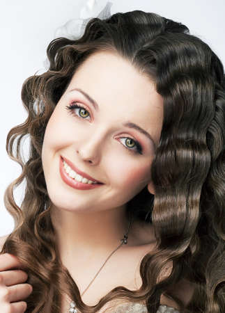 Pretty smiling young fresh woman - natural beauty makeup and hair Stock Photo - 15635651